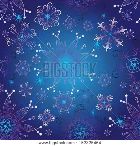 Seamless dark blue gradient christmas pattern with vintage snowflakes vector eps 10