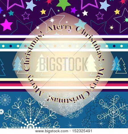Christmas striped greeting card with stars abd snowflakes and translucent gold label vector eps10
