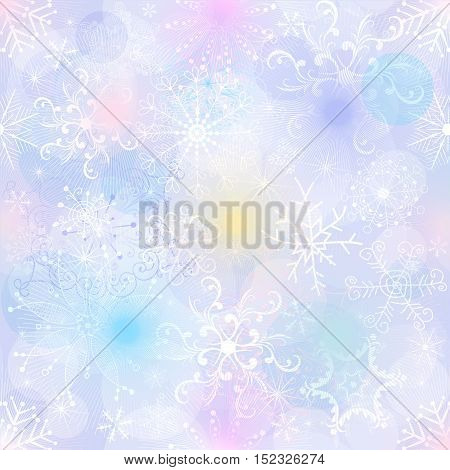 Delicate pastel Christmas pattern with snowflakes and colorful spots vector EPS10