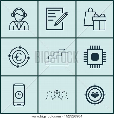 Set Of 9 Universal Editable Icons For Computer Hardware, Education And Marketing Topics. Includes Ic