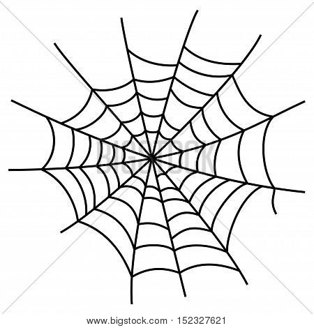 Black cobweb element, isolated on white background. Symbol of halloween, network, trap and danger, scary, arachnid. Vector illustration