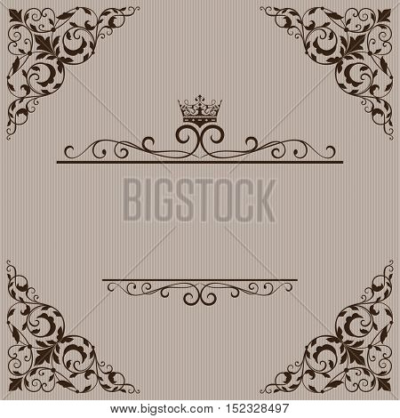 Vintage brown title page vector template with floral ornament and crown.