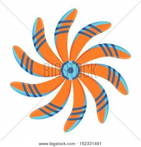 Turbine plane icon propeller fan rotation technology equipment. Fan blade, wind ventilator propeller plane fan equipment. Vector illustration propeller plane turbine vector industrial ventilator
