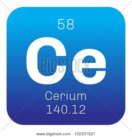 Cerium chemical element. Colored icon with atomic number and atomic weight. Chemical element of periodic table.