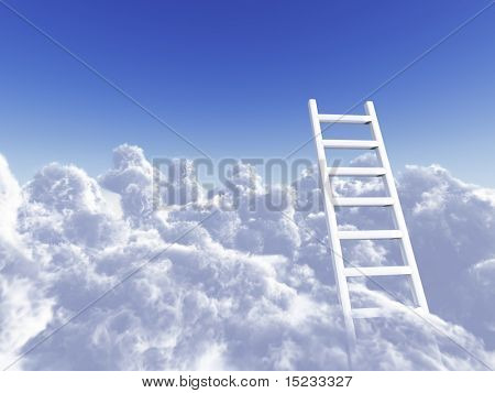 white stair rising in clouds on a background blue sky