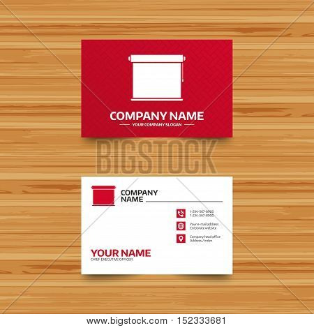 Business card template. Louvers rolls sign icon. Window blinds or jalousie symbol. Phone, globe and pointer icons. Visiting card design. Vector