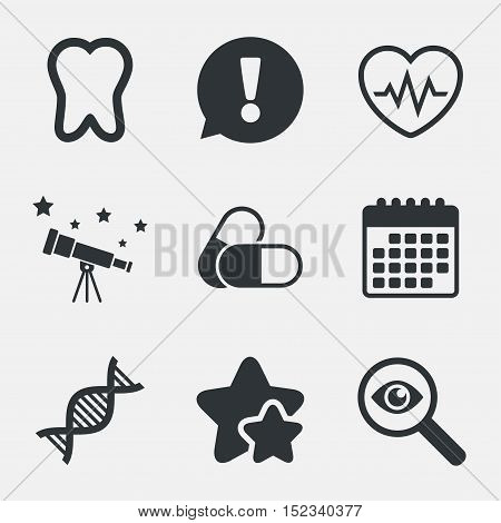 Maternity icons. Pills, tooth, DNA and heart cardiogram signs. Heartbeat symbol. Deoxyribonucleic acid. Dental care. Attention, investigate and stars icons. Telescope and calendar signs. Vector