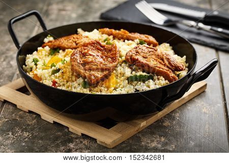 fresh cous cous with grilled vegetables and soy medaillons.