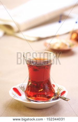 Cup Of Turkish Tea With Locum On Oriental Plate. Concept Of Turkish Tea.