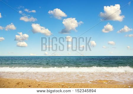 Beautiful seascape and cloudscape. Composition of nature.
