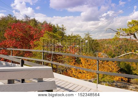 Cumberland County Tennessee USA October 16 2016: Visitors enjoy the fall color from the Lilly Bluff overlook at Obed Wild and Scenic River