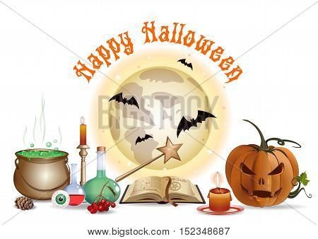 Halloween design with jack-o'-lantern, open book, magic wand, wizard laboratory, eye, burning candle, full moon, bats and lettering - Happy Halloween. Vector illustration