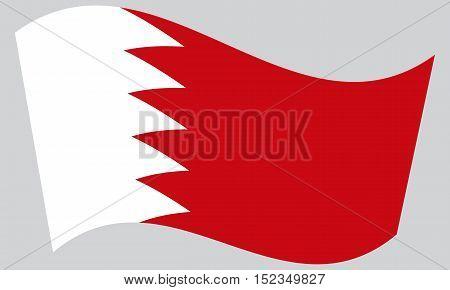 Bahraini national official flag. Patriotic symbol banner element background. Correct colors. Flag of Bahrain waving on gray background vector