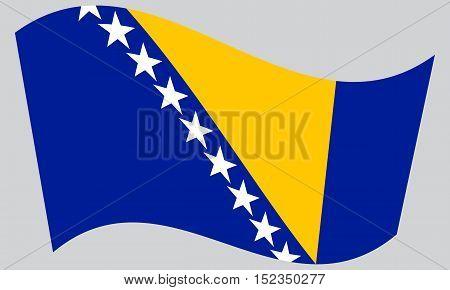 Bosnian and Herzegovinian national official flag. Patriotic symbol banner element background. Correct colors. Flag of Bosnia and Herzegovina waving on gray background vector