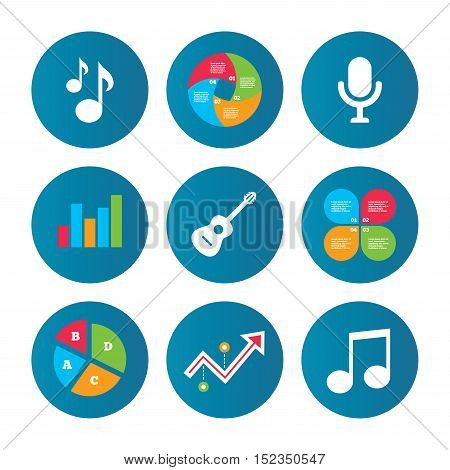 Business pie chart. Growth curve. Presentation buttons. Music icons. Microphone karaoke symbol. Music notes and acoustic guitar signs. Data analysis. Vector