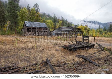 Rundown barn on overcast day in Okanogan county in Washington near Winthrop.