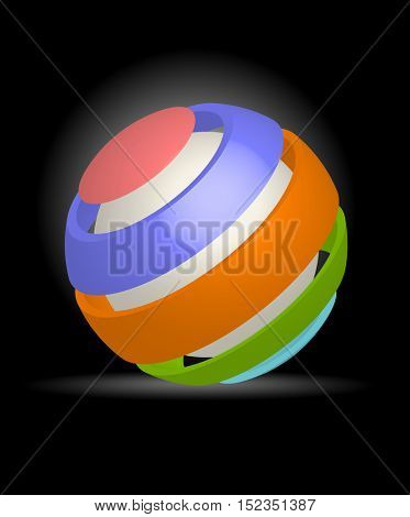 An illustration of colorful spherical design element