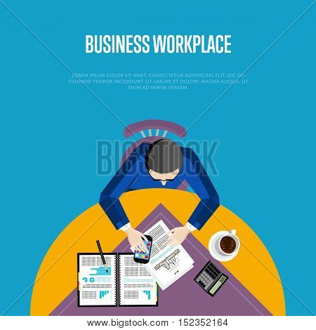 Top view business workplace, vector illustration. Overhead view of businessman working with financial documents at round office desk. Business people banner with space for text on blue background.