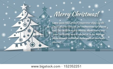 Christmas tree applique vector background. Christmas card. Creative paper Christmas tree. grey and white