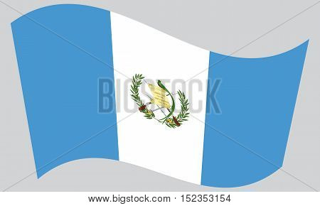 Guatemalan national official flag. Patriotic symbol banner element background. Correct colors. Flag of Guatemala waving on gray background vector