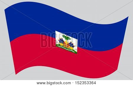 Haitian national official flag. Patriotic symbol banner element background. Correct colors. Flag of Haiti waving on gray background vector