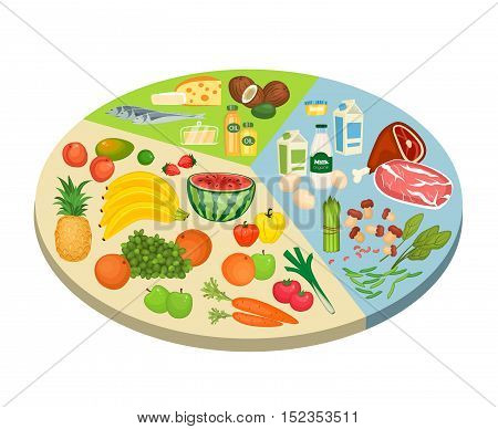 Food circle diagram. Fruits, vegetables, meat, fish, eggs, nuts, dairy products vector illustrations. Components of recommended ration scheme. For human healthy nutrition concepts design
