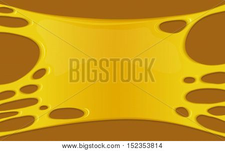 Vector illustration of honey splash. Stain and splashing sweet sticky yellow liquid. Abstract background with orange paint blot or spot of juice. Banner in cartoon design.