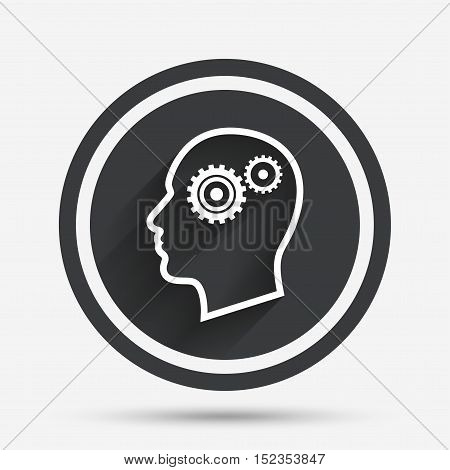 Head with gears sign icon. Male human head symbol. Circle flat button with shadow and border. Vector