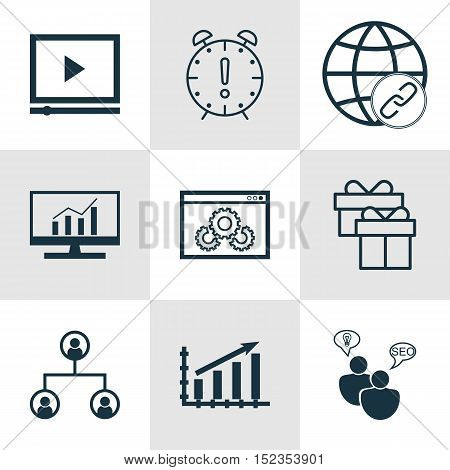 Set Of 9 Universal Editable Icons For Airport, Advertising And Seo Topics. Includes Icons Such As Ma