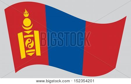 Mongolian national official flag. Patriotic symbol banner element background. Correct colors. Flag of Mongolia waving on gray background vector