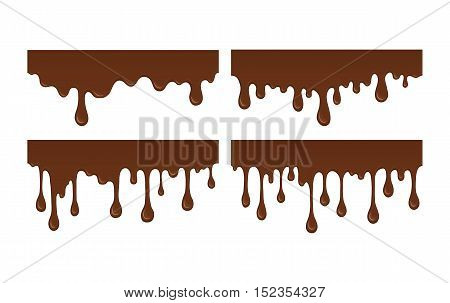 Vector set of brown liquid drops and blots. Collection of splashes liquid and blobs. Melted chocolate drips and flowing. Abstract shapes isolated on white background.