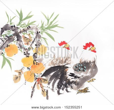 Traditional China Rooster with persimmon,mean good luck.