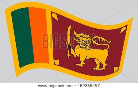 Sri Lankan national official flag. Patriotic symbol banner element background. Correct colors. Flag of Sri Lanka waving on gray background vector