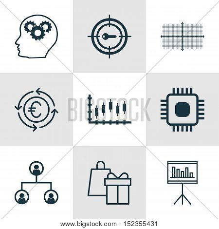 Set Of 9 Universal Editable Icons For Computer Hardware, Project Management And Airport Topics. Incl