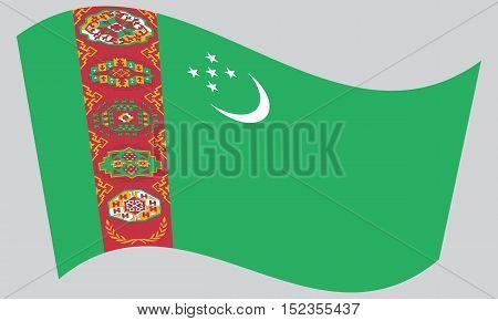 Turkmen national official flag. Patriotic symbol banner element background. Correct colors. Flag of Turkmenistan waving on gray background vector
