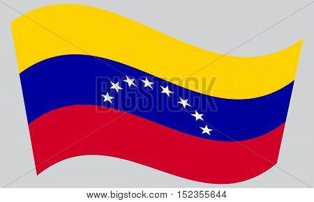 Venezuelan national official flag. Bolivarian Republic of Venezuela patriotic symbol banner element background. Correct colors. Flag of Venezuela waving on gray background vector