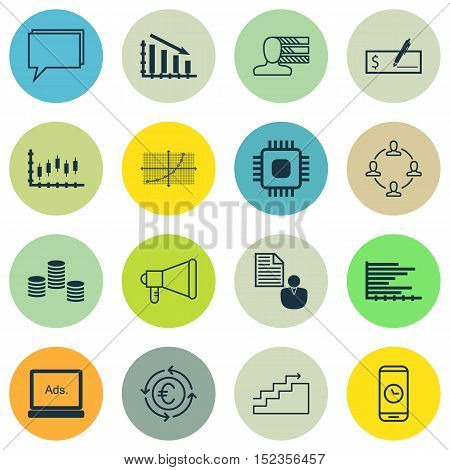 Set Of 16 Universal Editable Icons For Travel, Statistics And Airport Topics. Includes Icons Such As