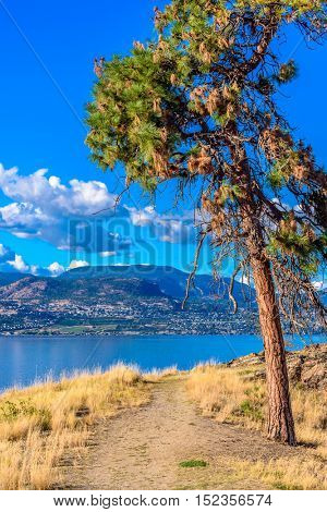 Majestic mountain lake in Canada. Okanagan Lake in Kelowna, Canada.