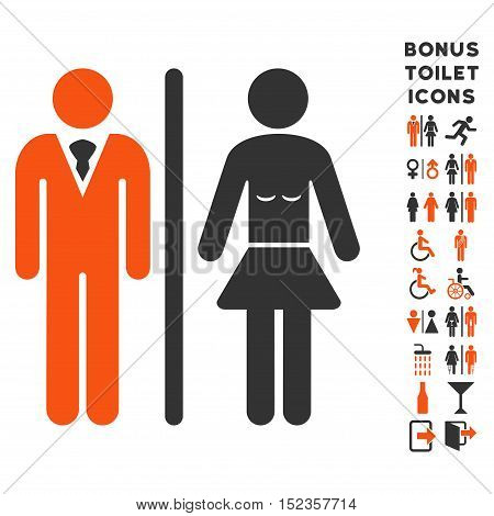 Toilet Persons icon and bonus male and female lavatory symbols. Vector illustration style is flat iconic bicolor symbols, orange and gray colors, white background.