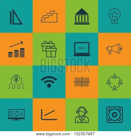 Set Of 16 Universal Editable Icons For Project Management, Marketing And Human Resources Topics. Inc