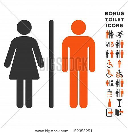 WC Persons icon and bonus male and woman WC symbols. Vector illustration style is flat iconic bicolor symbols, orange and gray colors, white background.