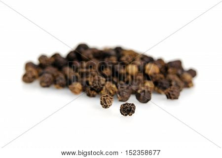 Black Pepper, Piper Nigrum, Isolated On White Background