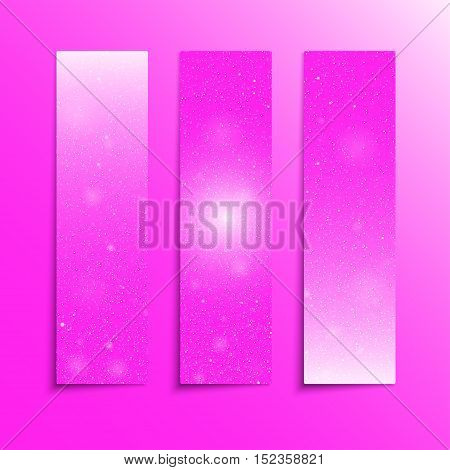 Vertical set of paper Pink rectangle banners template for business design, infographics. Vector illustration eps10. Snow, blizzard, winter.