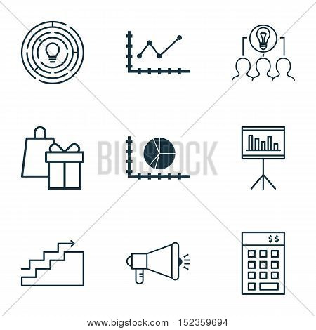 Set Of 9 Universal Editable Icons For Statistics, Business Management And Project Management Topics.
