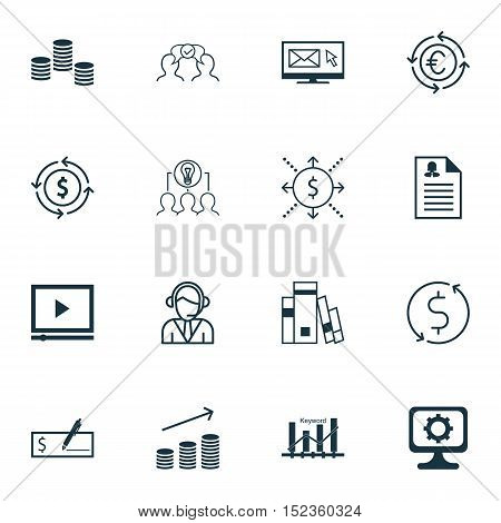 Set Of 16 Universal Editable Icons For Human Resources, Project Management And Seo Topics. Includes