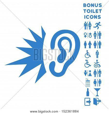Listen Loud Sound icon and bonus man and female restroom symbols. Vector illustration style is flat iconic symbols, cobalt color, white background.