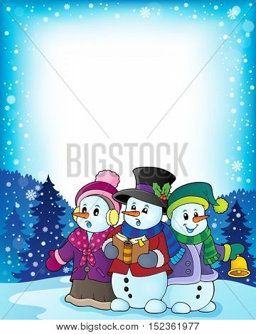Snowmen carol singers theme image 3 - eps10 vector illustration.