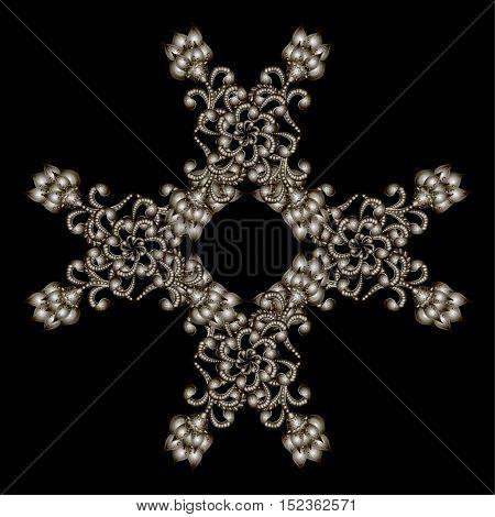 Christmas snowflake crystal precious. Beautiful jewelry medallion brooch decoration on neck mandala frame. Fashion pattern brilliant stones silver applique rhinestones jeweler - stock vector