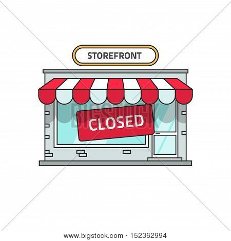 Closed shop building vector illustration, store font view with closed sign, flat cartoon storefront outline line style