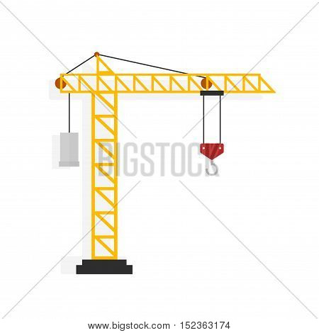 Crane vector illustration isolated on white background, flat cartoon crane machine
